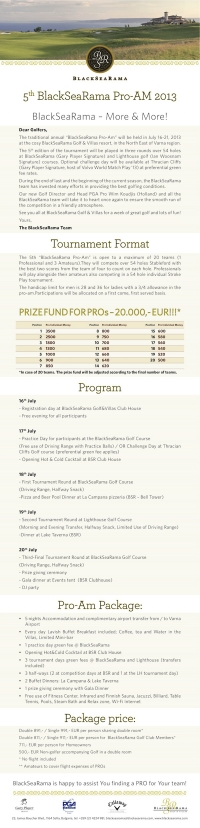 5th BSR Pro-AM 16-21 July 2013 information!