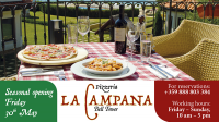 Seasonal opening of Pizzeria La Campana and Lake Taverna